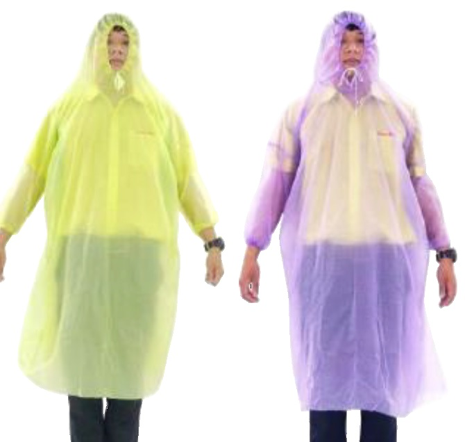 Polyethylene film poncho with sleeves and hood, 50 EA/CS